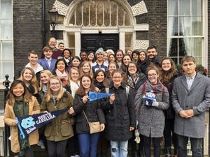 UNC students currently studying abroad in London pose for a group photo. Photo Courtesy of UNC Faculty.