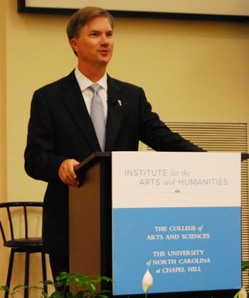 """Chancellor Holden Thorp spoke to students and faculty about his new book, """"Engines of Innovation: The Entrepreneurial University in the Twenty-First Century."""" """"The great problems that need to be addressed are not limited to technical challenges,"""" Thorp said."""