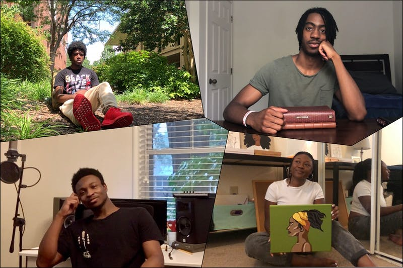 (top left to right, bottom left to right) UNC junior Justis Malker, senior Nick Hylton, senior Adam Dixon, and senior Kierra Glover pose for virtual FaceTime portraits. All are local artists who have been using the past few months to create art inspired by the Black Lives Matter movement.