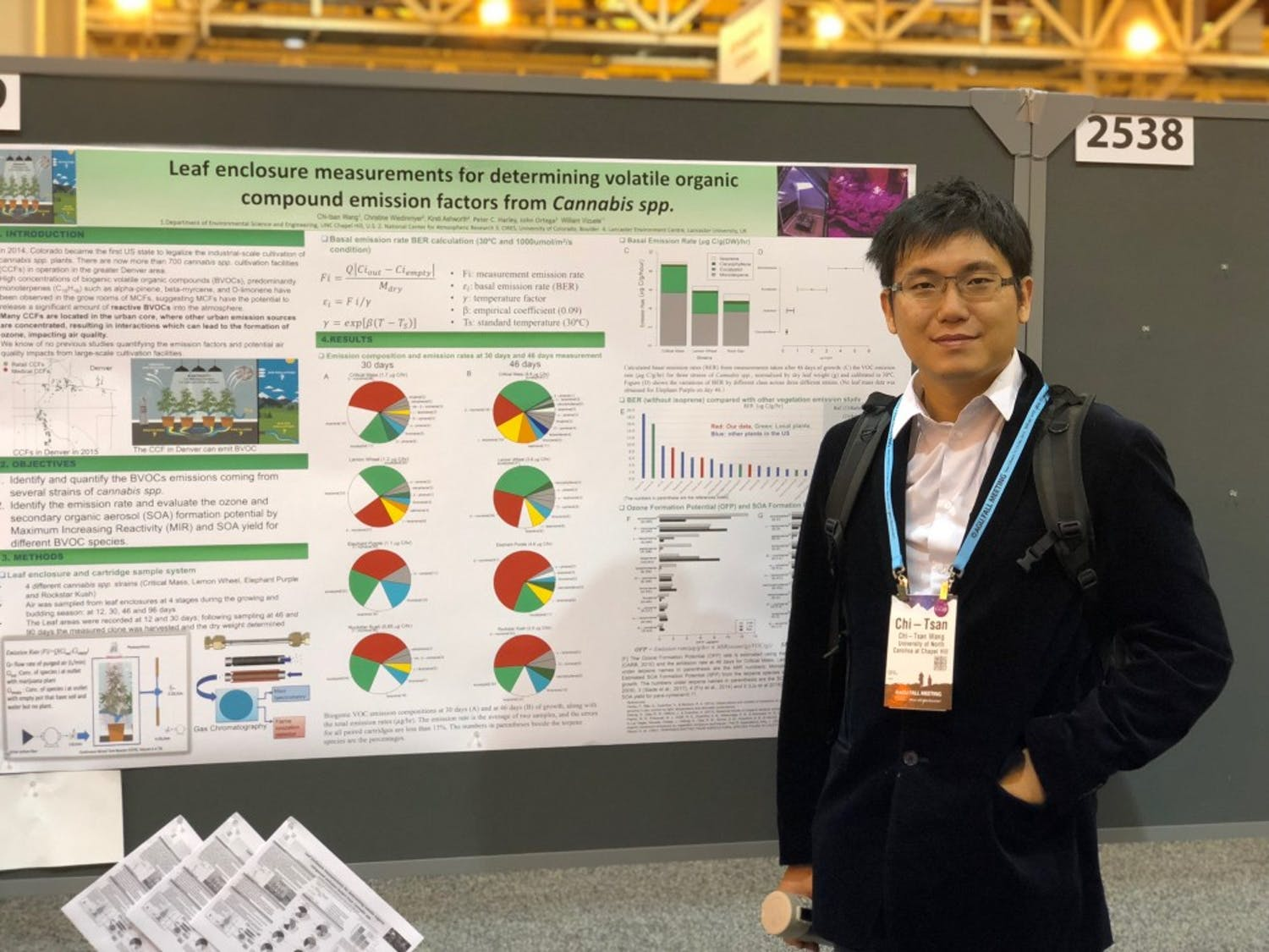 Chi-Tsan Wang stands in front of his research findings at the American Geophysical Union Fall Meeting on Dec. 13, 2017 in New Orleans. Photo courtesy of Chi-Tsan Wang.