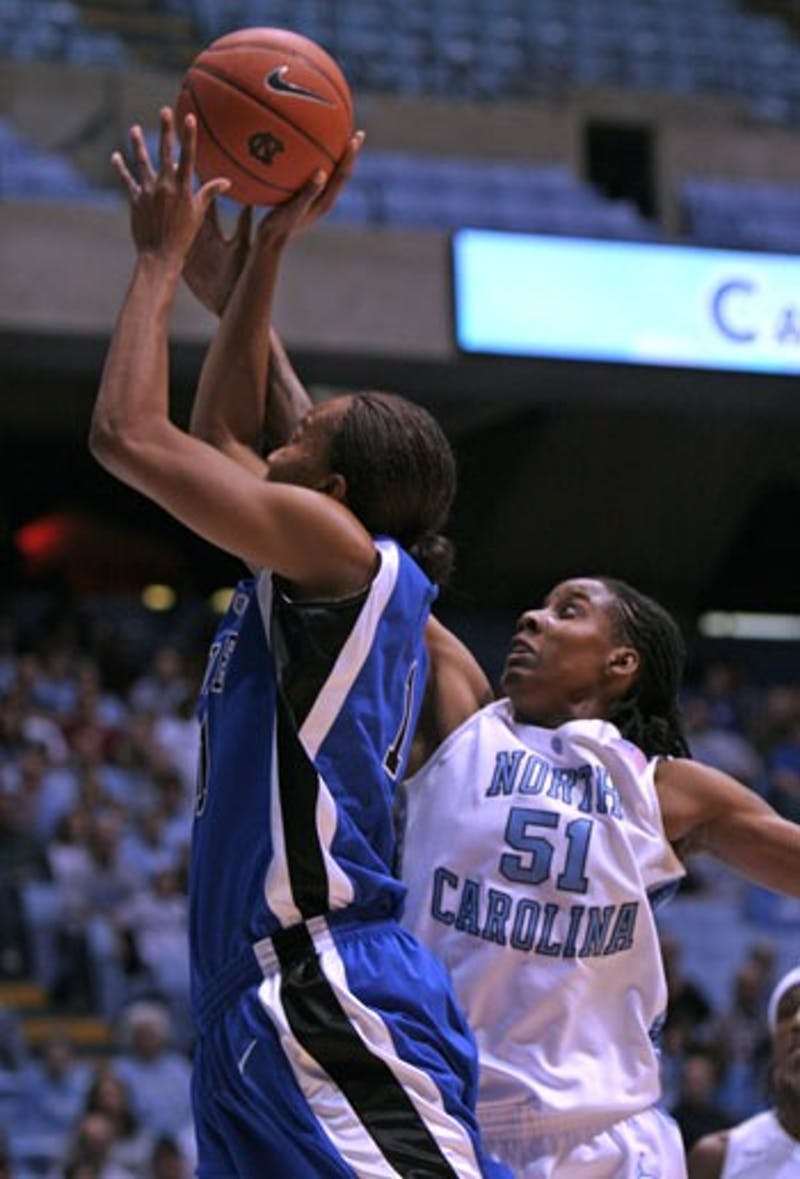 """UNC junior Jessica Breland made an impact across the box score Monday with a career-high 23 rebounds"""" 15 points and six steals."""