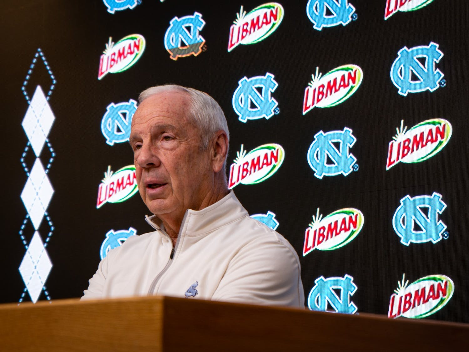 Head Basketball Coach Roy Williams speaks at a press conference in the Dean E. Smith Center on Friday, Feb. 14, 2020. In the middle of a rough season for UNC Men's Basketball, they are hoping to bounce back on Saturday's game against Virginia Tech.