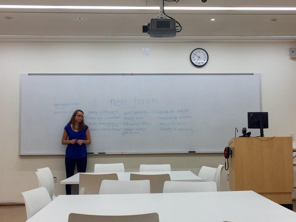 <p>Speaker Pro-Tempore Chase&nbsp;McConnachie holds a public forum before the Student Congress meeting Tuesday night.&nbsp;</p>