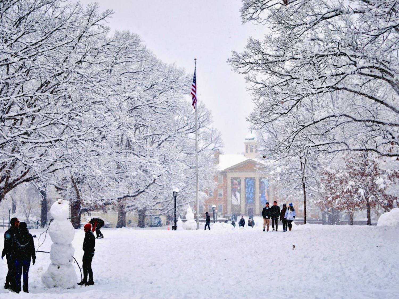 Carolina students enjoy the snow on campus on Jan. 17.
