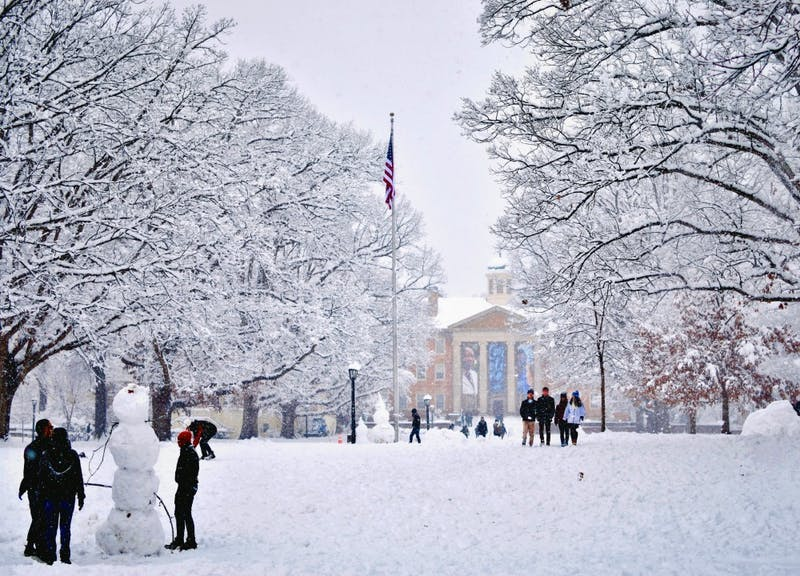 Carolina students enjoy the snow on campus on Jan. 17.