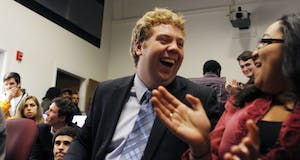 Christy Lambden celebrates after he was elected student body president on Tuesday night, winning by 55 percent of the votes and defeating Will Lindsey.