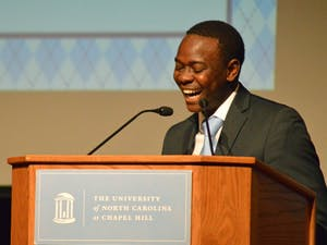 UNC Student Body President Bradley Opere gives his inaugural address on Tuesday, April 5th minutes after he is officially sworn in.