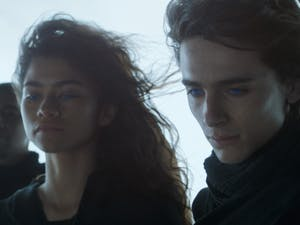 """From left, Zendaya and Timothée Chalamet in the film """"Dune."""" Photo courtesy of Warner Bros. Entertainment/TNS."""
