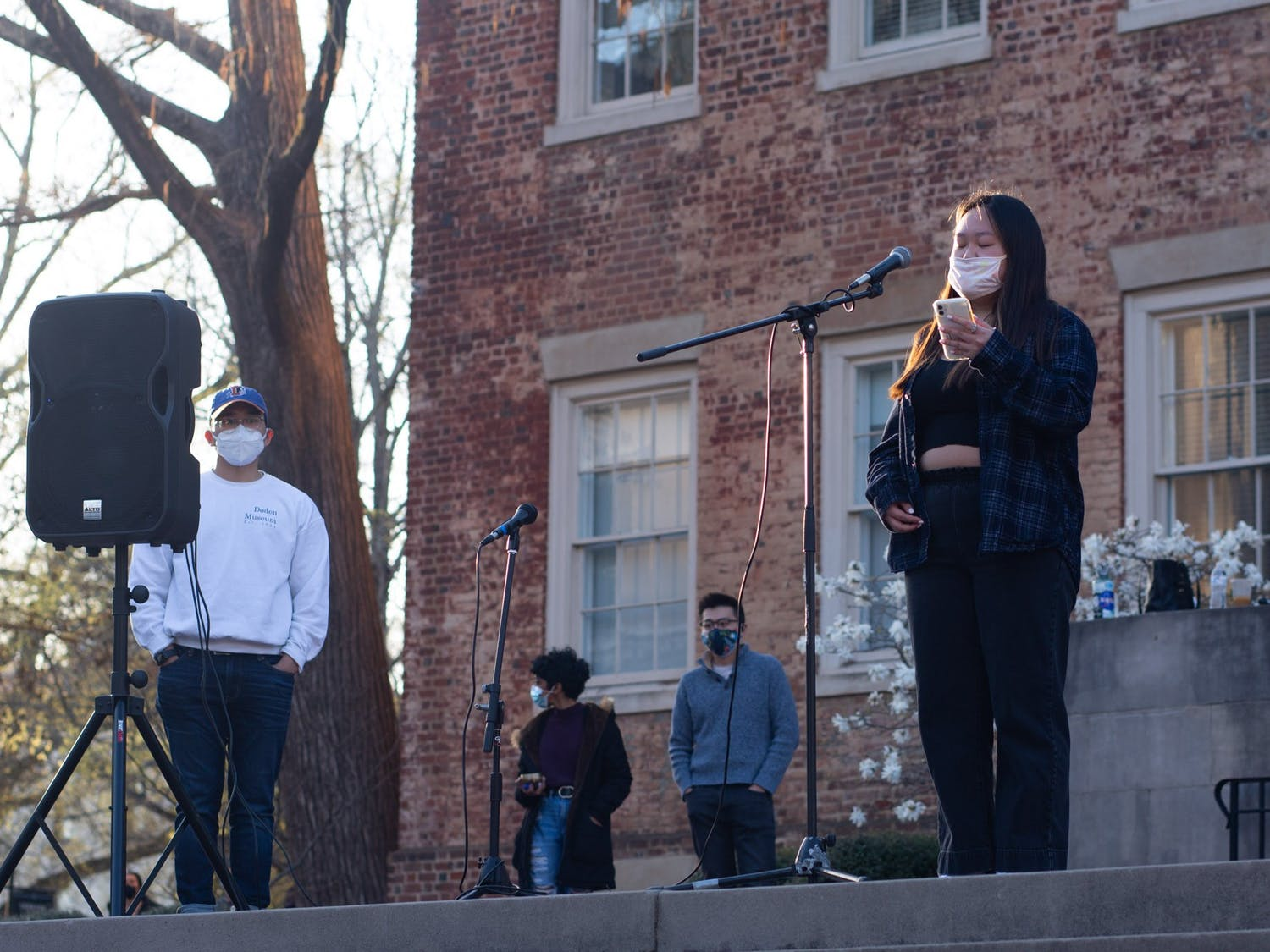 Students gathered to speak and share thoughts during a vigil in honor of the lives 8 lives lost in Atlanta on March 16, 2021.