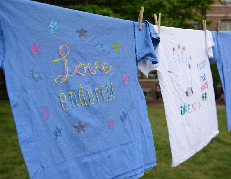 Various organizations coordinated a display of t-shirts in the lower quad to illustrate how sexual assault affects survivors and their families.