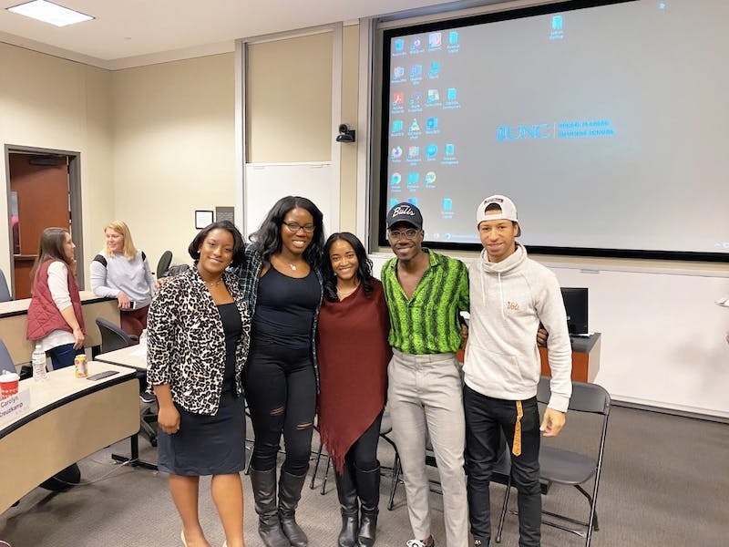 From left to right: Marcella Dalrymple, Je'nique Harewood, Jasmine Terry, Nkasano Fullerton and William Keyes. These five students from the Black Business Student Association were on a panel about Race and Allyship on Wednesday. Photo courtesy of the Black Business Student Association.
