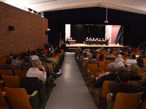 On March.22, 2016 Carrboro Board of Aldermen Public Hearing of the IFC's FoodFirst Meeting is held at the Carrboro Elementary School Auditorium.
