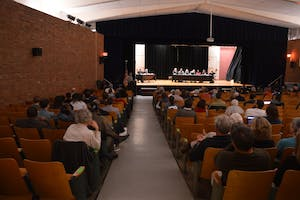 The Carrboro Board of Aldermen held a meeting in the Carrboro Elementary School Auditorium.