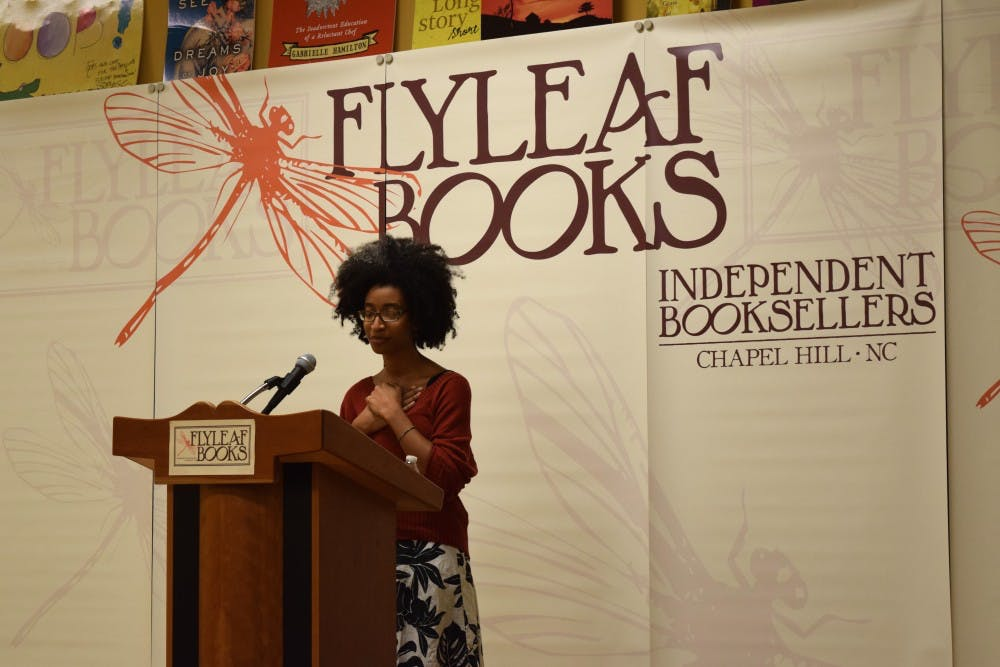 <p>Alexis Pauline Gumbs reflects on her poetry at an event sponsored by the Chapel Hill Speakers Series.&nbsp;</p>