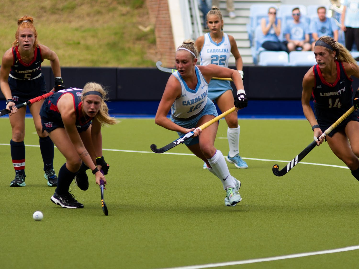 Junior midfielder Paityn Wirth (10) runs for the ball during UNC's Oct. 10 field hockey game against Liberty. The game proved to be a loss for the Tar Heels–Liberty headed home with a 4-0 win.