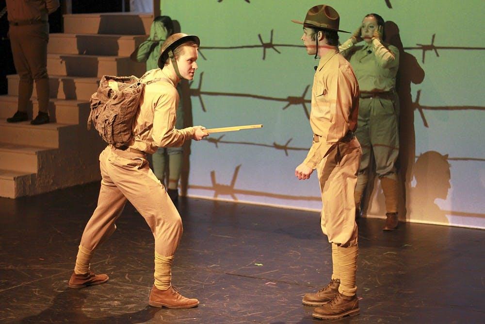 "<p>Sophomore Andrew Plotnikov (left) plays Johnny Johnson in Kenan Theatre Company's production of ""Johnny Johnson.""</p>"