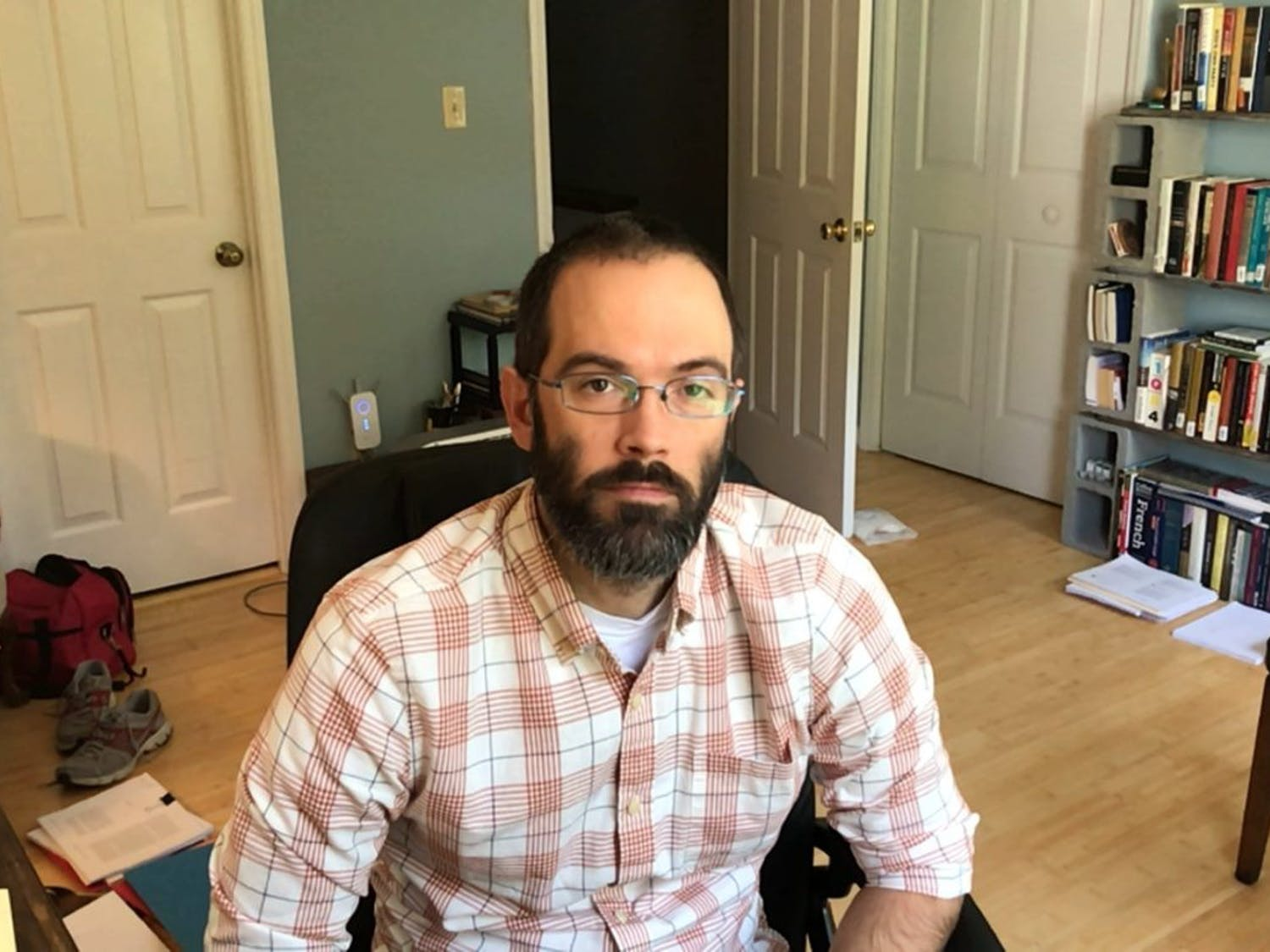 Bryce McCormick, a TA for Introduction to Early Judaism, poses from his home for a virtual portrait on Thursday, Oct. 15, 2020.