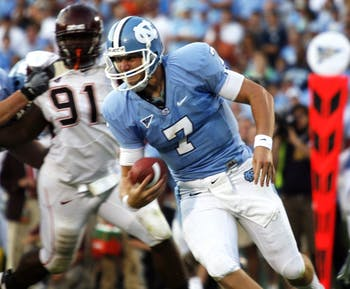 Former UNC quarterback Mike Paulus runs the ball in a 2008 game against Virginia Tech. Now he's known as Michael and plays for William & Mary, who visits Chapel Hill on Saturday. The Tribe is 3-0 in games he starts.