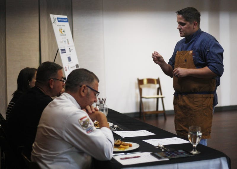 The 2019 NCRLA Chef Showdown was held in Chapel Hill on Monday July 22, 2019. Pictures show Thomas Card, executive chef at 21C Counting House, and Nicole Lourie, pastry chef at 21C Counting House, preparing their dishes for the judges of the competition.