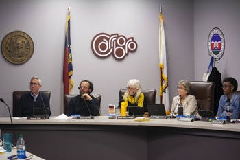 (From left) Town Council Members Damon Seils, Sammy Slade, Randee Haven-O'Donnell and Barbara Foushee and Mayor Lydia Lavelle listen to an ENO Arts Mill proposal in West Hillsborough on Tuesday, Feb. 4, 2020 at the Carrboro Town Hall.