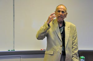 """Judge Stuart Namm, author of """"A Whistleblower' s Lament,"""" speaks at the UNC School of Government on Wednesday afternoon. Namm discussed issues with justice in the New York legal system."""