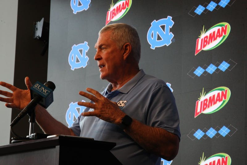 The UNC football team held a press conference in late July to showcase the newly renovated facilities that were awarded to the team before the season begins and the first practice is held in early August.