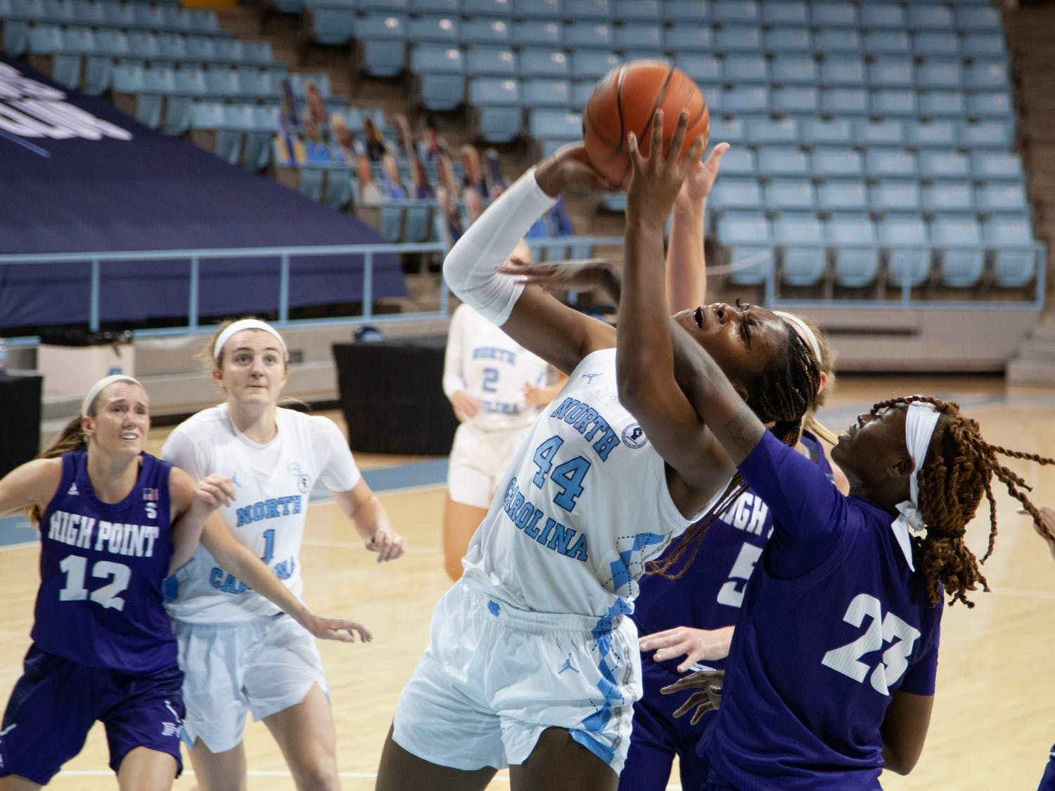UNC senior center Janelle Bailey (44) takes a shot during the game against High Point Sunday, Nov. 29, 2020 in Carmichael Arena.