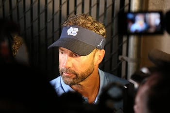 Larry Fedora speaks to press after UNC-ECU football game on Sept. 8th at Dowdy-Ficklen Stadium after a loss of 41-19.