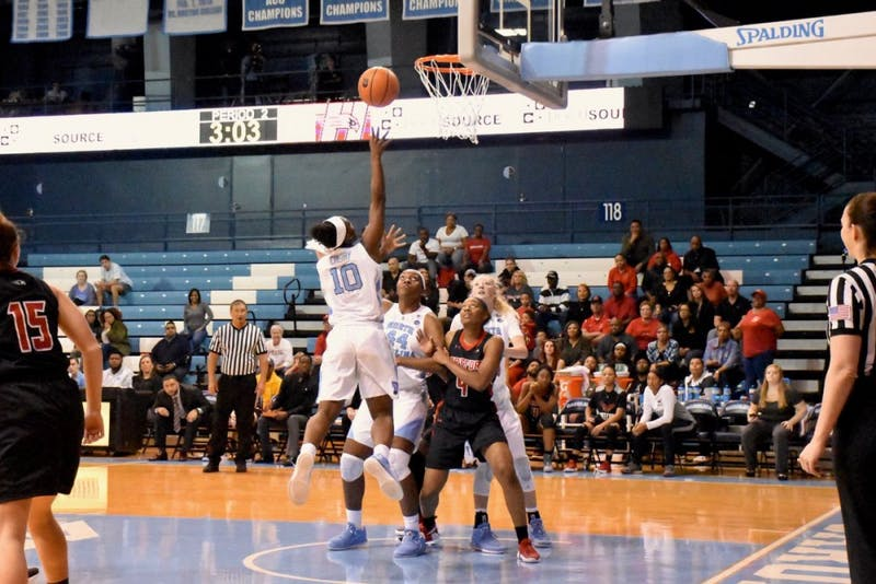 Guard Jamie Cherry (10) takes a layup against Hartford on Dec. 1 in Carmichael Arena