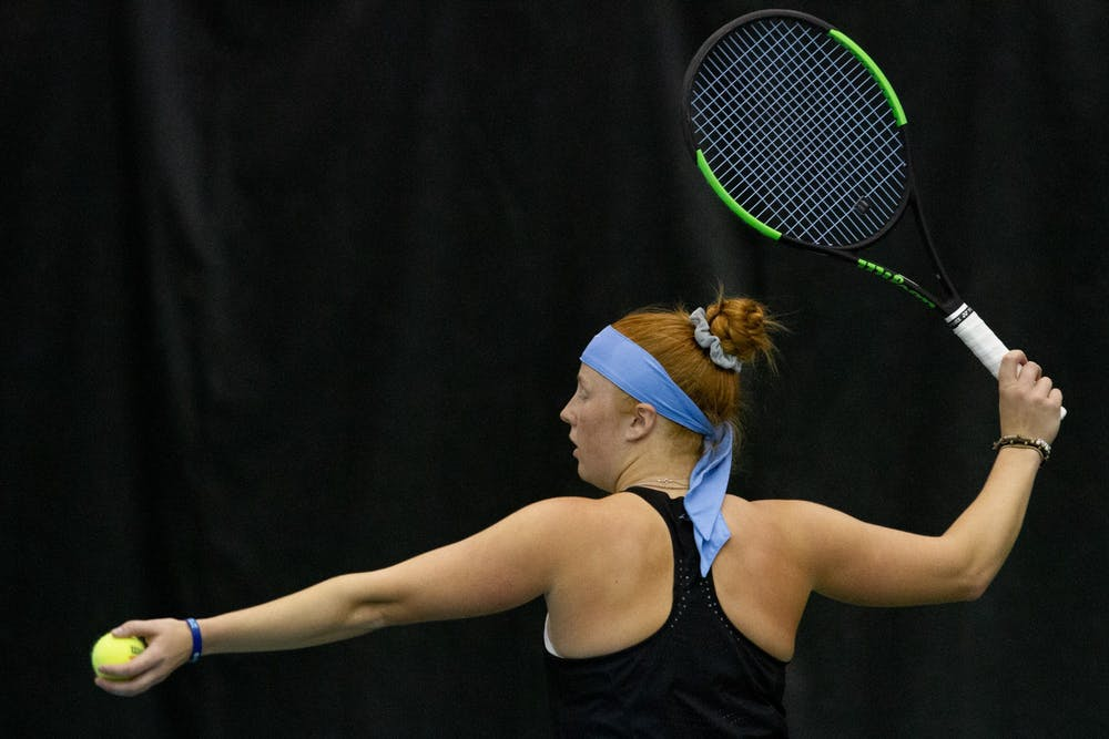 UNC Senior Sara Daavettila prepares to serve the ball during her singles match against Old Dominion University during the ITA Championship hosted at the Cone-Kenfield Tennis Center in Chapel Hill, NC, on Saturday, January 25th. Daavettila went on to win both of her sets 6-3 and the UNC Tar Heels went on to win 4-1 against Old Dominion University.