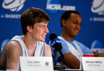 UNC guard Stilman White answers a question during a press conference Saturday. UNC will take on Kansas in the Elite 8 round of the NCAA Tournament on Sunday at the Edward Jones Dome in St. Louis.