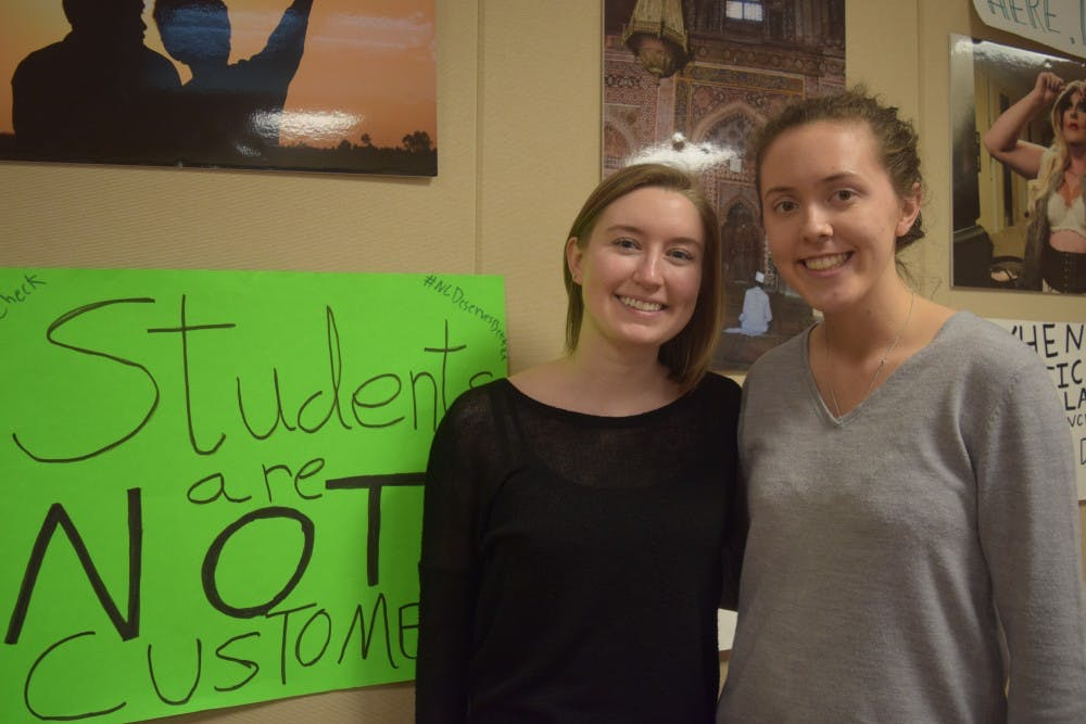 <p>Alli Whitenack (left) and Jessica Bolin are the new co-presidents for Campus Y, their term started March 9 — the day they received the keys for their new office. &nbsp;</p>