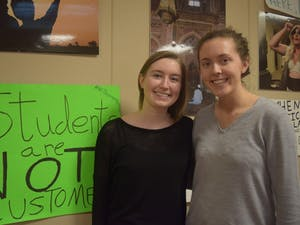Alli Whitenack (left) and Jessica Bolin are the new co-presidents for Campus Y, their term started March 9 — the day they received the keys for their new office.