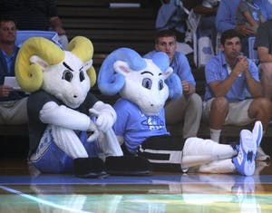 Rameses and Rameses Jr. sit on the floor of the Smith Center after the new mascot's official debut at Late Night with Roy on Oct. 23.