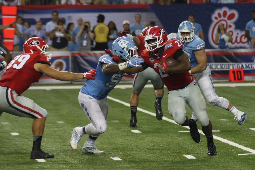 UNC football trails Georgia 14-10 in Chick-fil-A Kickoff Game