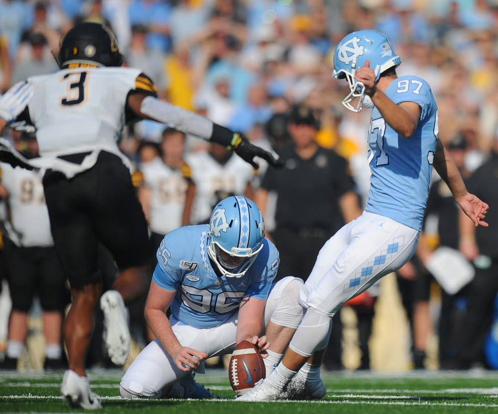<p>UNC kicker Noah Ruggles (97) attempts a field goal during a game against Miami University in Kenan Memorial Stadium on Saturday, Sept. 7, 2019. Photo courtesy of Dana Gentry.</p>