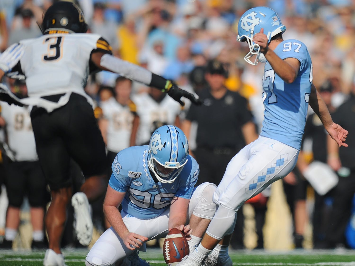 UNC kicker Noah Ruggles (97) attempts a field goal during a game against Miami University in Kenan Memorial Stadium on Saturday, Sept. 7, 2019. Photo courtesy of Dana Gentry.