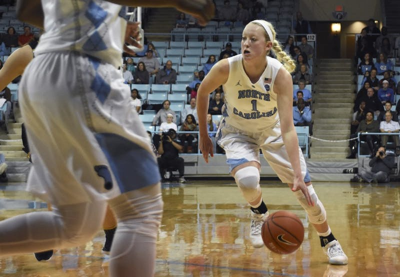 UNC guard Taylor Koenen (1) drives down the court against No.10 Notre Dame on Sunday.
