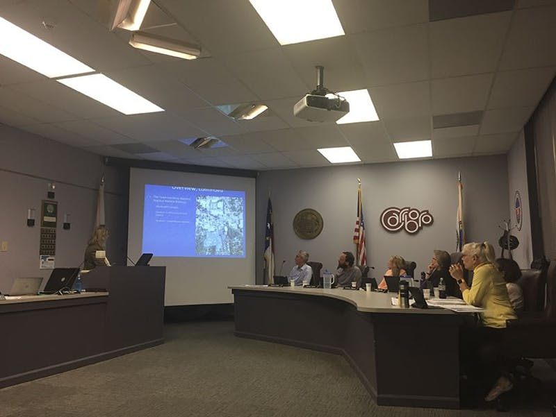 Tina Moon, the Carrboro planning administrator, presented proposed changes to the Carrboro Land Use Ordinance at the Carrboro Board of Alderman meeting on Tuesday of 2016.