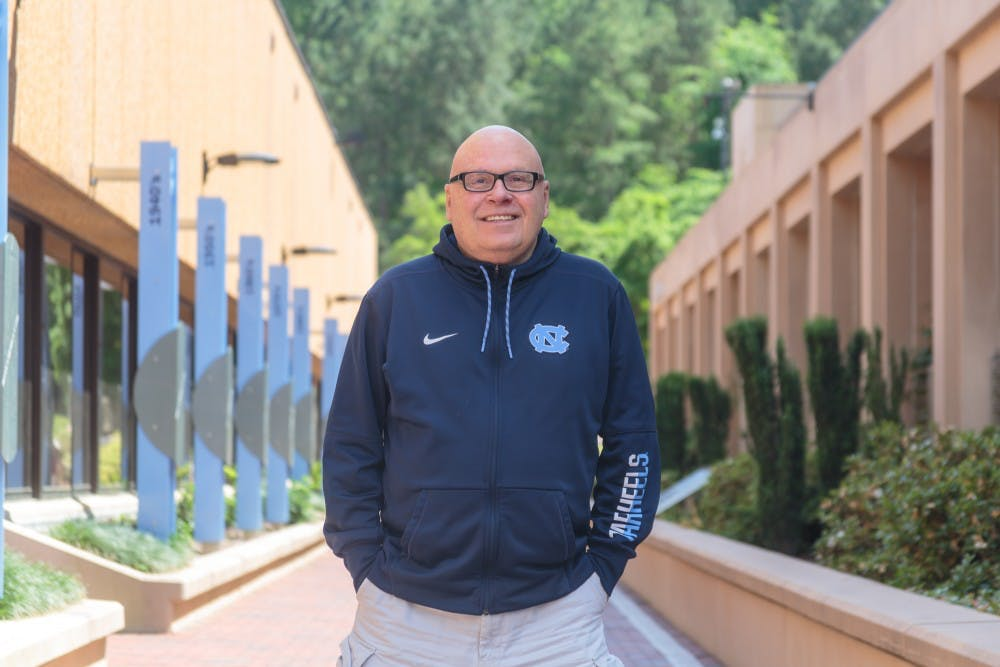 <p>Dave Lohse has worked with almost every varsity sport at UNC. He currently oversees communications for the North Carolina men's lacrosse and women's soccer teams.</p>