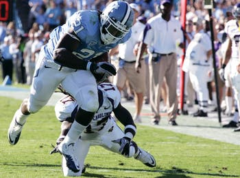 Da'Norris Searcy picked off Dominique Davis and returned it 46 yards for a touchdown on Saturday. Searcy, a senior safety, was playing in his first game of the season after having to sit the Tar Heels' first three games while his eligibility was being determind.