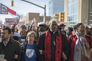 Marchers move down Jones St. at the 11th HKonJ march in Raleigh on February 11th.