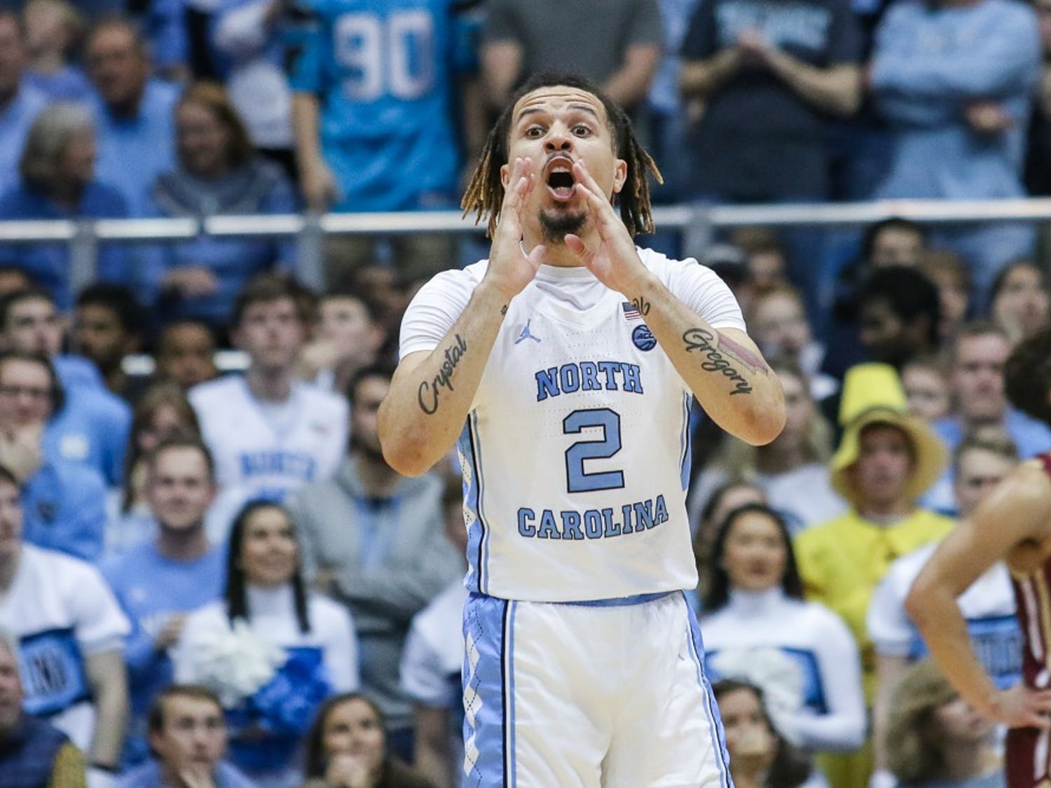 First-year guard Cole Anthony (2) yells during a game against Boston College in the Smith Center on Saturday, Feb. 1, 2020. UNC fell to Boston College by just one point in the last minutes of the game, making the final score 71-70.