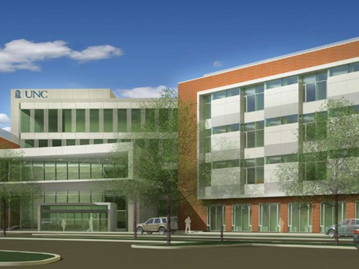 The proposed rendering of the new UNC Hospital campus in Hillsborough.  Courtesy of Skanska
