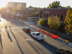 Cars drive down Franklin Street on Monday, Oct. 26, 2020.