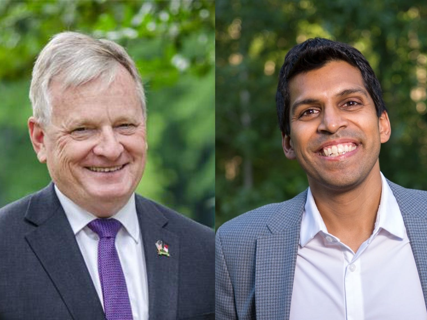 Incumbent Dale R Folwell (left), Republican, and Ronnie Chatterji, Democrat, are running for N.C. State Treasurer. Photos courtesy of Folwell and Greg Lademann.