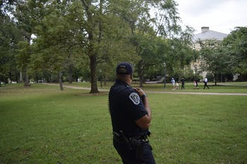 Patrol Officer Jamison McKire monitoring near McCorkle Place Tuesday, Sept. 25.