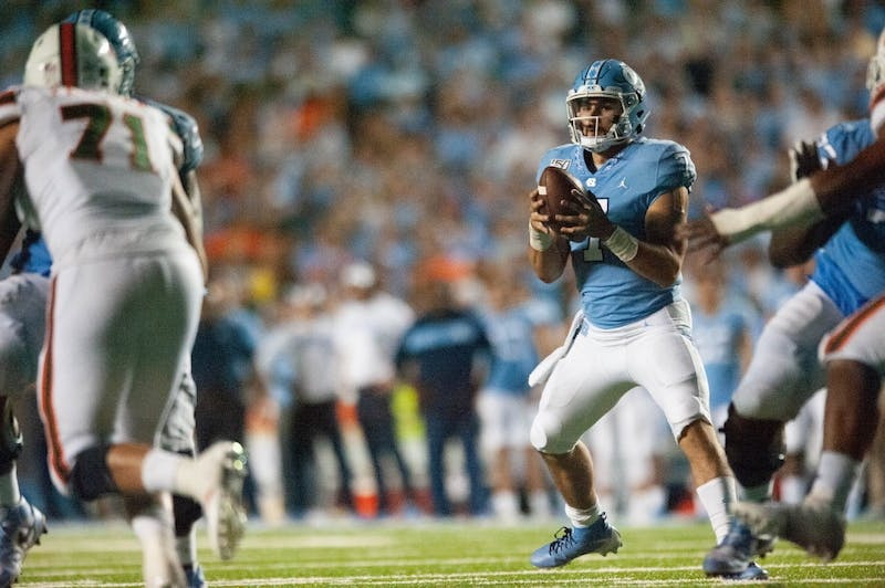 UNC quarterback Sam Howell (7), prepares to pass the ball on Saturday, Sept. 7, 2019 in a game against Miami in Kenan Memorial Stadium. UNC beat Miami 28-25.