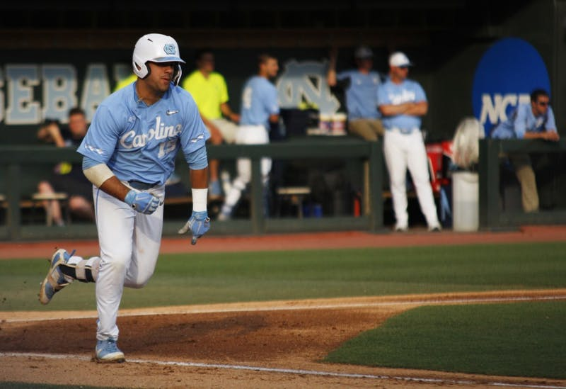 UNC baseball first year and 1B, Aaron Sabato (19), runs to first base after hitting the ball during the final game in the regional championships versus Tennessee on Sunday June 2, 2019. UNC won 5-2.