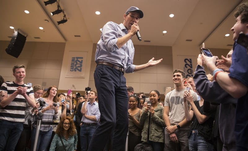 Democratic presidential candidate Beto O'Rourke visits UNC-Chapel Hill on Monday, April 15, 2019 in the Great Hall of the Student Union.